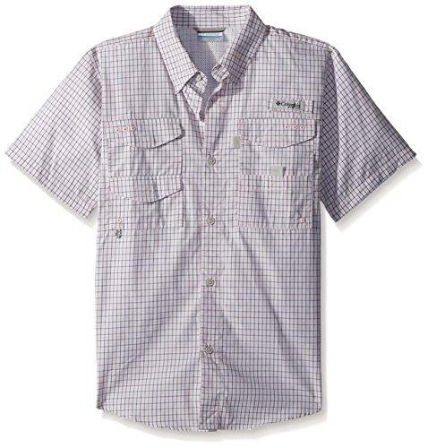 Columbia Boys Super Bonehead Short Sleeve Shirt, Cupid Mini Plaid, Large