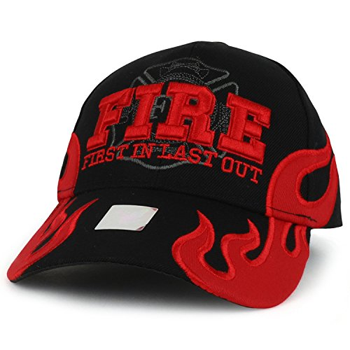 Trendy Apparel Shop First in Last Out 3D Fire Embroidered Adjustable Baseball Cap - Black (Fire Dept Embroidery)