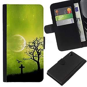 KLONGSHOP // Tirón de la caja Cartera de cuero con ranuras para tarjetas - Noche Green Moon - Sony Xperia Z2 D6502 //