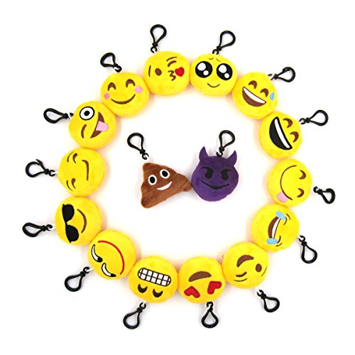 Krois Emoji Mini Plush Pillows Keychain Decorations, Kids Party Supplies Favors, Set of 16 - Decorations Rings Party Favors