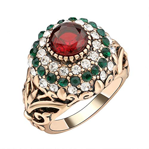 Turkish Red Antique Gold Color Women's Jewelry Golden Crown Green Crystal Finger Ring - Gold Ruby Mens Bands