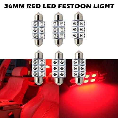 - Partsam 6X Red LED Light Bulbs for Interior Lights Map Dome License Plate Lights DE3425