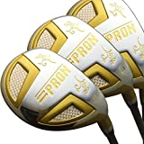 Japan Epron TR Gold Hybrids Golf Club Wood Set + Leather Cover(18,21,24 Degree Loft,Regular Flex,Pack of 3)