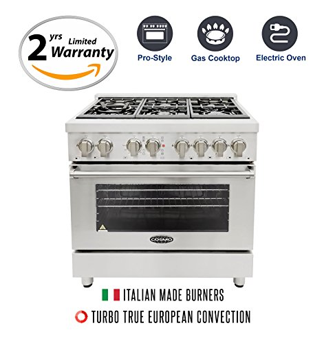 Dual Fuel Freestanding Cookers (Cosmo COS-DFR366 36 in. Freestanding Professional Style Dual Fuel Range with 4.5 cu. ft. Electric Convection Oven, 6 Italian Made Burners, Cast Iron Grates, in Stainless Steel)