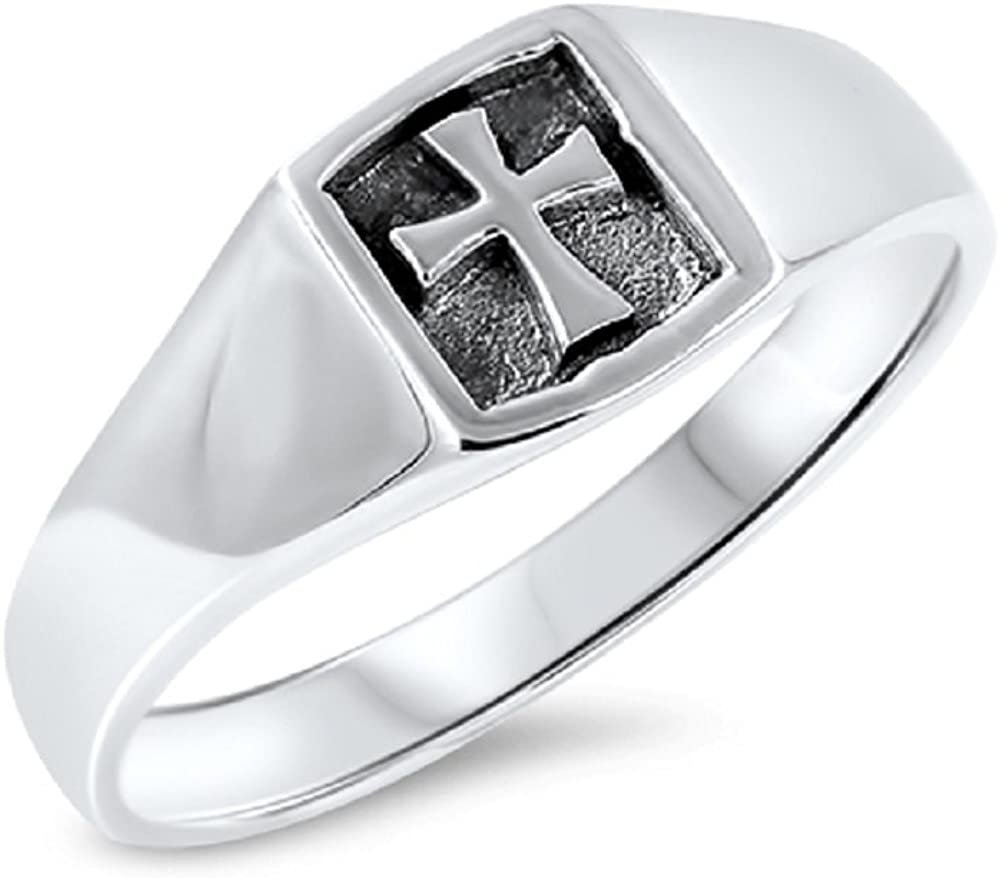 CloseoutWarehouse Sterling Silver Medieval Cross Plain Band Ring