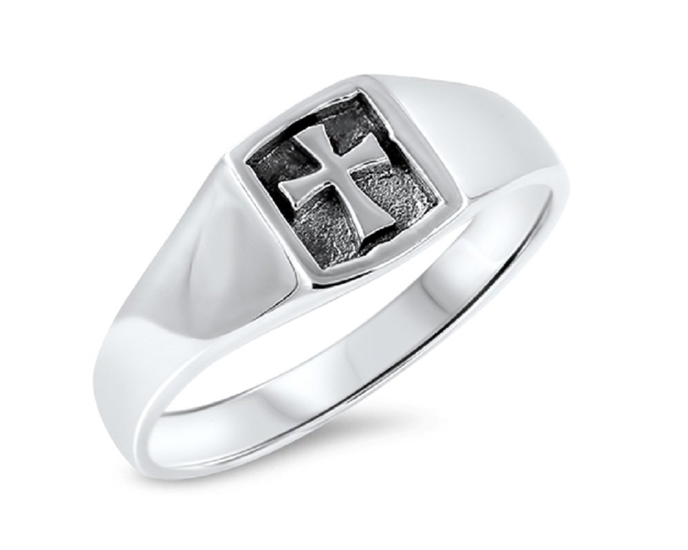 CloseoutWarehouse Sterling Silver Plain Cross Stamp Ring Size 10