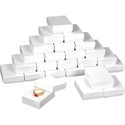 25 White Swirl Cotton Charm Jewelry Boxes Gift Display 2 1 8 X 1 5 8 X 3 4