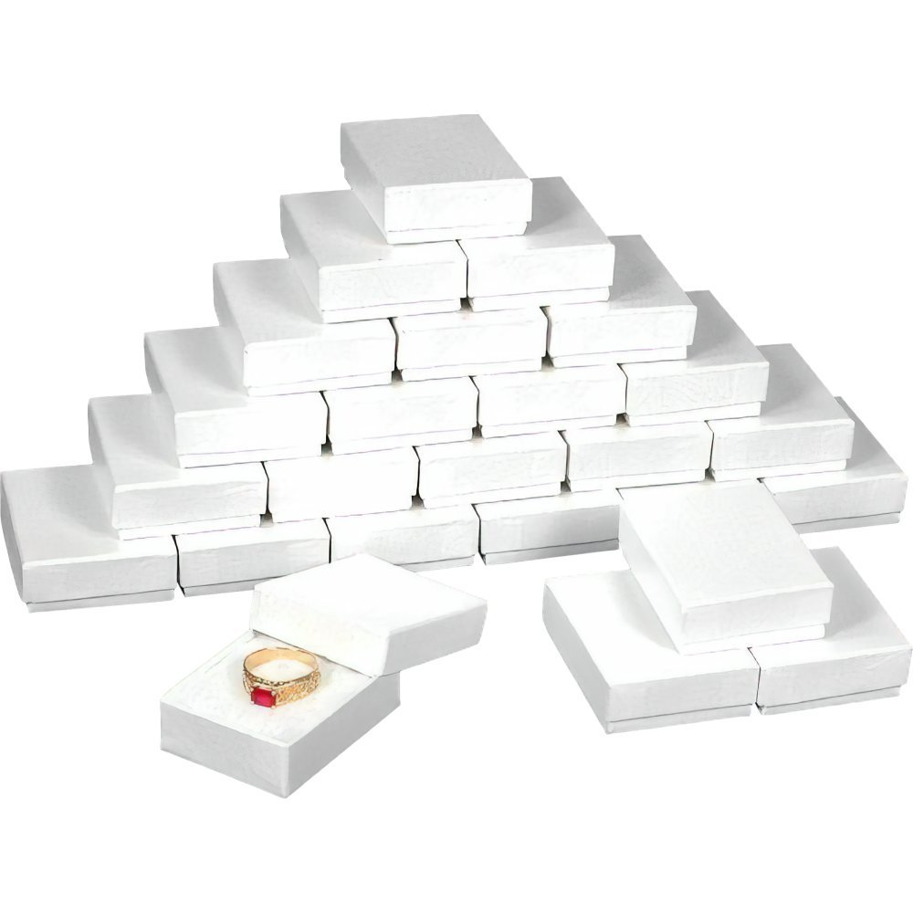 "25 White Swirl Cotton Charm Jewelry Boxes Gift Display 2 1/8"" x 1 5/8"" x 3/4"""
