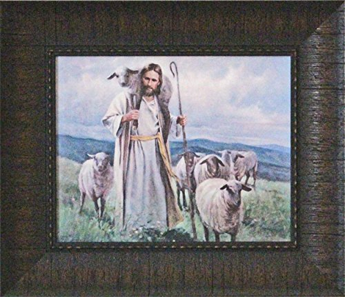 Framed Picture of Jesus Leading his sheep Good Shepherd by Del Parson - Jesus Good Shepherd