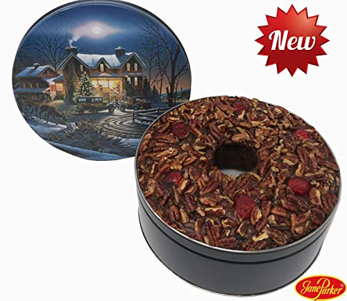 Collin Street Bakery - Jane Parker Dark Fruit Cake 48 Ounce Ring in a Holiday Tin