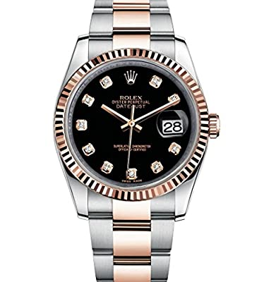 Rolex Datejust 36 Steel Rose Gold Watch Black Diamond Dial 116231 by Rolex