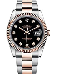 Rolex Datejust 36 Steel Rose Gold Watch Black Diamond Dial 116231