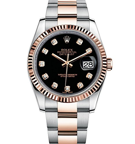 Rolex Datejust 36 Steel Rose Gold Watch Black Diamond Dial - Rose Watches Rolex Gold