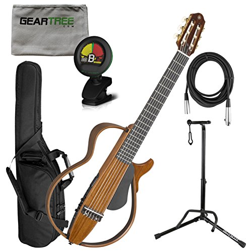 Yamaha SLG200NW Nylon String Silent Guitar w/Bag, Cloth, Cable, Stand, and Tune ()