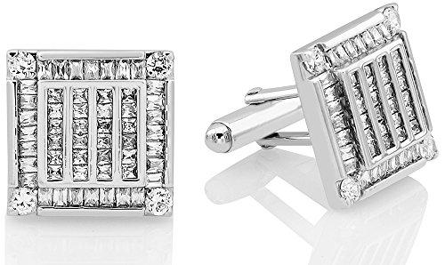 Men's Sterling Silver .925 Square Cufflinks with Channel-Set Baguette and Princess-Cut Cubic Zirconia Stones, Platinum Plated. 18.5 mm. By Sterling Manufacturers by Sterling Manufacturers (Image #1)
