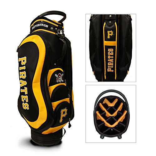 Team Golf MLB Pittsburgh Pirates Medalist Golf Cart Bag, 14-way Top with Integrated Handle & External Putter Well, 5 Zippered Pockets, Padded Strap, Umbrella Holder & Removable Rain Hood ()
