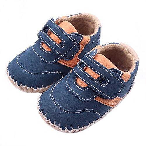 کودکان و نوجوانان پسر بچه Lidiano Dull Dull ، کفش ورزشی لاستیکی بدون لغزش 0-18 ماه (12-18 ماه ، آبی و نارنجی)