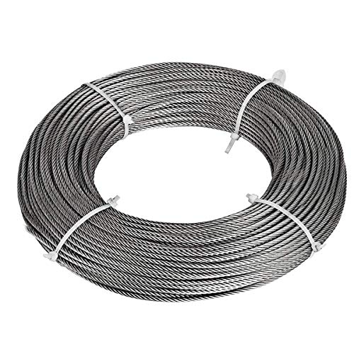 Bysn 1/8 Stainless Steel Cable Aircraft Wire Rope for Deck Cable Railing Kit,7x7 200Feet T316 Marin ()
