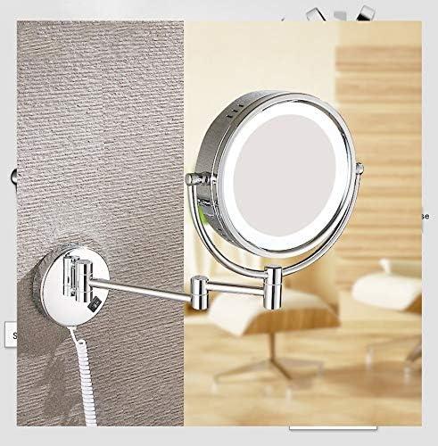 10倍ウォールマウント化粧鏡2面拡大鏡タッチ調光LEDライトバニティミラーバスルームミラー360°スイベル