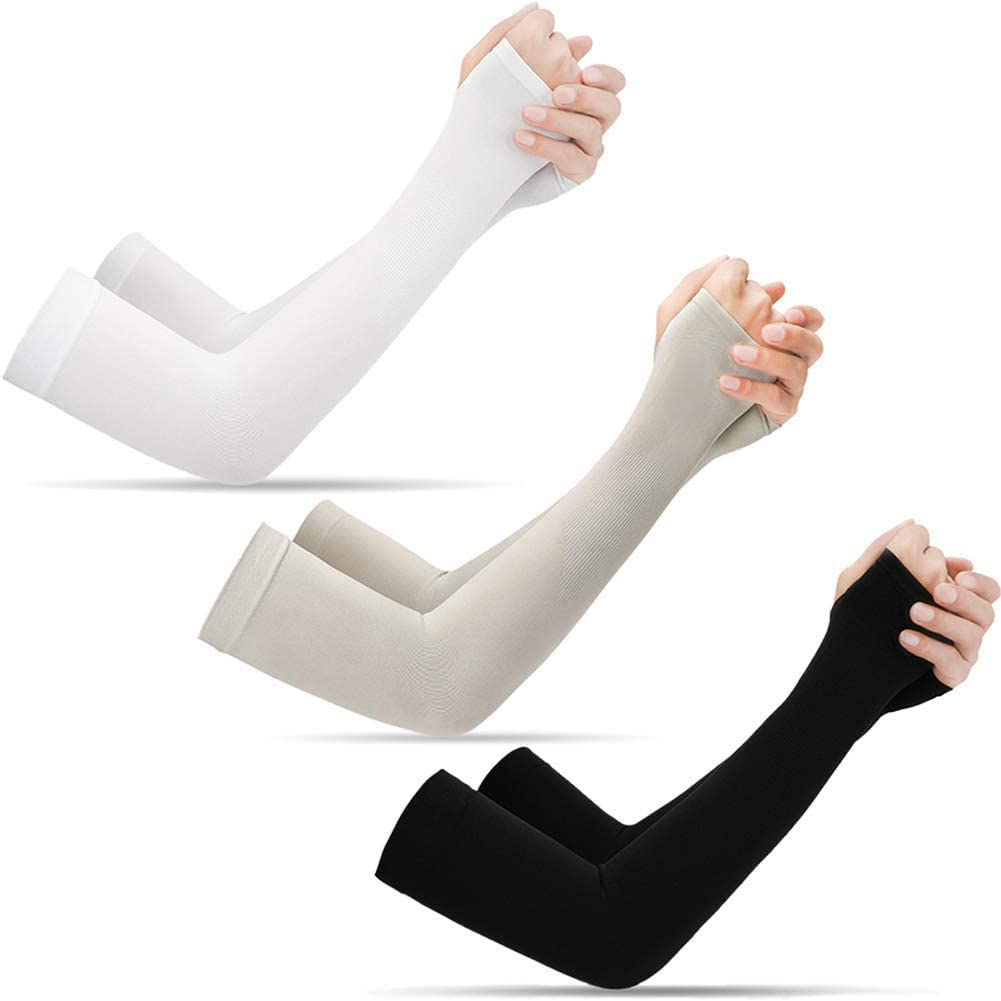 3/6 Pairs UV Sun Protection Cooling Arm Sleeves - UPF 50 Arm Cover for Men Women