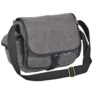 Everest Luggage Canvas Messenger, Charcoal, Charcoal, One Size