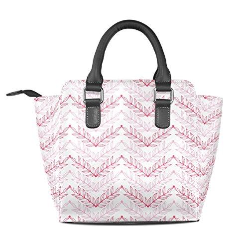 Pelle Spalla Tote Ladies Borsa Chevron Pink handle Borsello Medio Modello Multicolore A In Top Borse Pu Lineart Foglie Coosun Zzw5Pqq