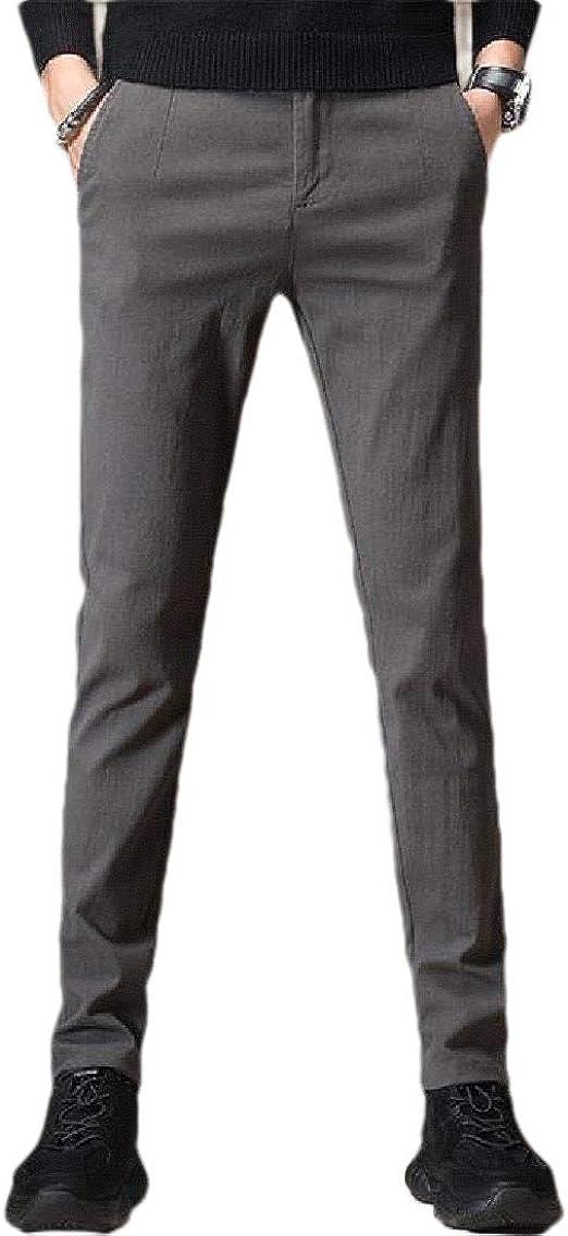 Candiyer メンズベーシックコットンストレートレッグビジネスカジュアルレジャーポケットドレスパンツ