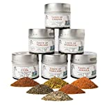 Gourmet World Flavors Seasoning Collection | Non GMO Verified | 6 Magnetic Tins | Spice Blends | Crafted in Small Batches by Gustus Vitae | #68