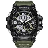 KXAITO Men's Sports Outdoor Waterproof Military Watch Date Multi Function Military LED Alarm Stopwatch (Window_Green)