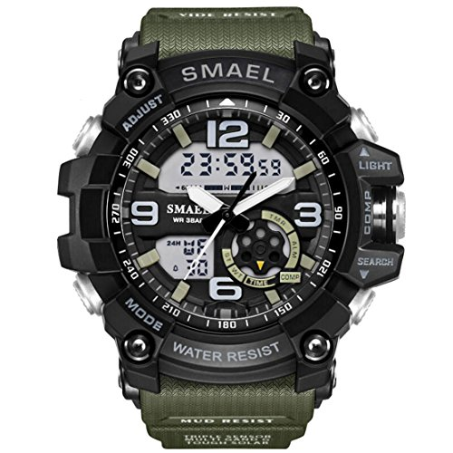 KXAITO Men's Sports Outdoor Waterproof Military Watch Date Multi Function Military LED Alarm Stopwatch (green2_Window)