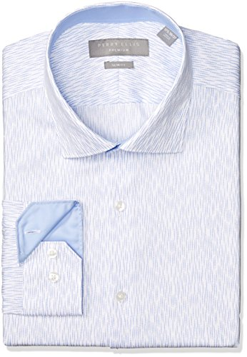 Perry Ellis Men's Slim Fit Performance Non-Iron Dress Shirt, Medium Blue, 16 32/33 by Perry Ellis