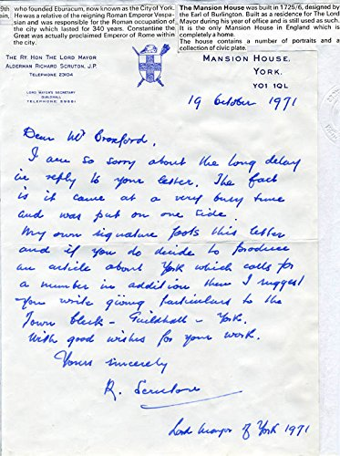 Richard Scruton Autograph Letter Signed 10/19/1971