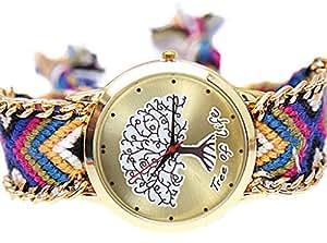 La vogue Relojes de Cuarzo Redondo Trenzado Tejido a Mano (Árbol de La Vida #1)