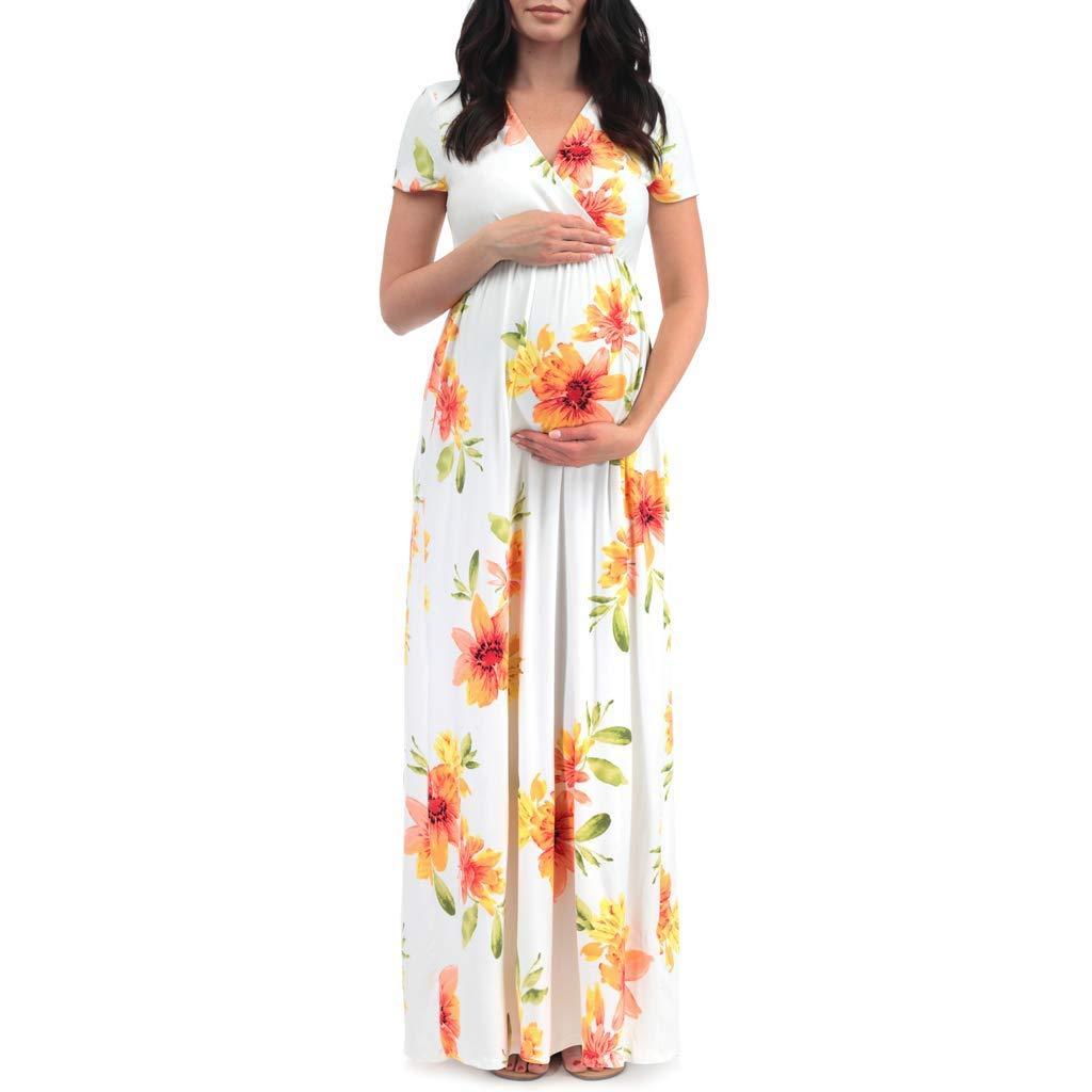 Julywe Mutterschaft Kurzärmeliges Sommerkleider Schwangere Frauen Baumwolle Kleidung Schönes Schwangerschaftskleidung Elegantes Partykleider Baby-Mutter Umstandsmode Toller Umstandskleider