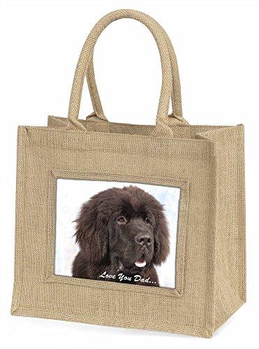 Advanta Neufundländer Hund Love You Dad Große Einkaufstasche/Weihnachten Geschenk, Jute, beige/natur, 42x 34,5x 2cm