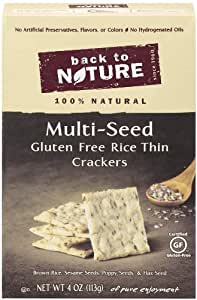 Back To Nature Gluten Free Rice Thin Multi Seed Crackers, 4-Ounce Packages (Pack of 6)