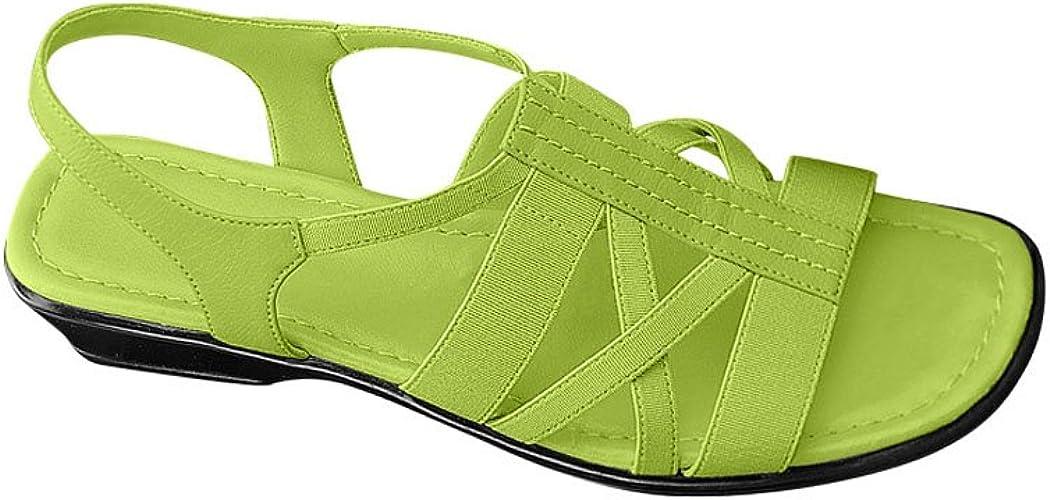Vintage Sandals | Wedges, Espadrilles – 30s, 40s, 50s, 60s, 70s AngelSteps Womens Adult Malibu Sandal Low Heel Elastic Stretch Back  AT vintagedancer.com