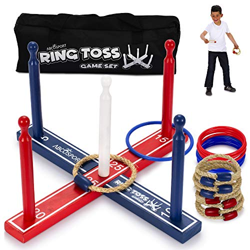Ring Toss Game Set – Outdoor Games for Kids & Adults – Fun Toy for Yard, Lawn, Backyard Party – Premium Wood Base, 8 Ropes and 8 Plastic Rings – Easy to Assemble – Carry Bag Included (Improved) from Abco Tech