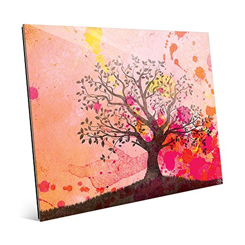 Carmine Willow Silhouette Abstract Landscape Wall Art