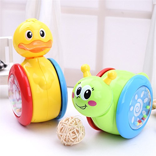 IQAngel 2 pcs Funny Tumbler Toys Bell Ducks Snails Rocking Sliding Animals Toys for Toddler Fashion Kids Educational Toys