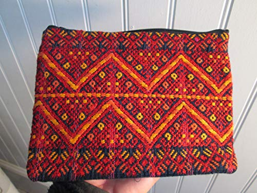 Handmade Guatemalan Woven geometric red black orange design huipil Coin Purse travel Wallet Bag Zipper Pouch cosmetics organizer fair trade Guatemala loomed indigo denim back lined aztec mayan