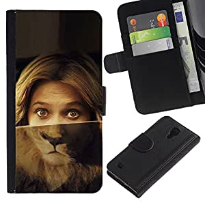 Planetar® Modelo colorido cuero carpeta tirón caso cubierta piel Holster Funda protección Para Samsung Galaxy S4 IV I9500 ( Retrato de la mujer Ojos del león Verde Rubia )