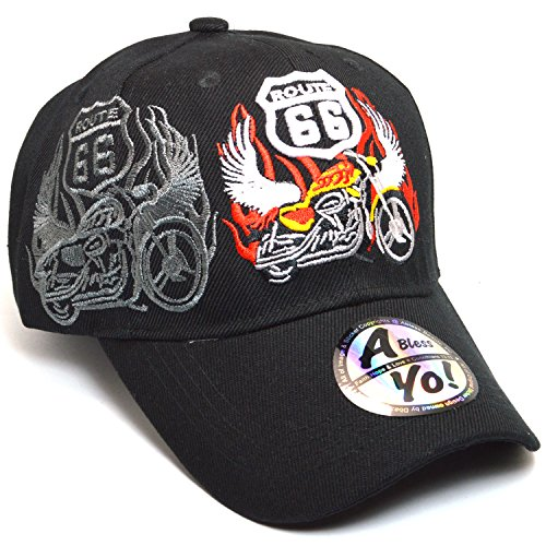 Route 66 Motorcycle Angels Curved Visor Baseball Cap All Size Hat AYO1157 (Black) (Route 66 Visor)