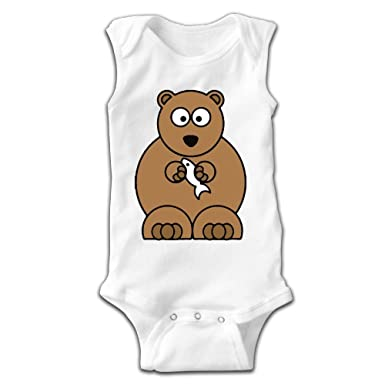 Amazoncom Newborn Infant Babys Cartoon Bear Catch Fish Sleeveless