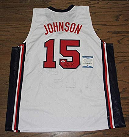 0b743f5d61b0 Image Unavailable. Image not available for. Color  Autographed Magic  Johnson Jersey - White Usa Bas Witnessed ...