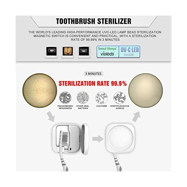 SILVIA Portacepillos de Dientes Soporte de Dientes de UV Esterilizador Portacepillo de Pared, Organizador de Cepillo de… 3