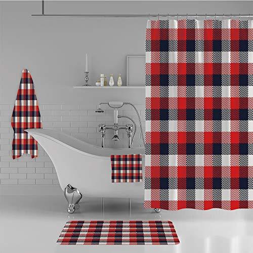 iPrint Bathroom 4 Piece Set Shower Curtain Floor mat Bath Towel 3D Print,Vintage Square Design Tartan Motif Abstract Art,Fashion Personality Customization adds Color to Your Bathroom.
