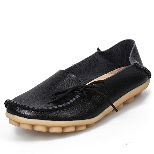 - Women's Leather Loafers Moccasins Wild Driving Casual Flats Oxfords Breathable Shoes Black