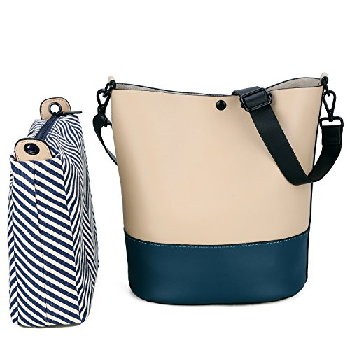 Women's Handbag, SUSEN PU Leather Bucket Tote Shoulder Bag Purse Fashion for Ladies Girls (Beige+Blue)