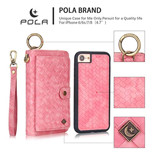 Price comparison product image pmxlfo iPhone 8 iPhone 7 Case Women's Wallet Leather Woven Clutch Bag Multifunctional Long Zipper Wallet Multi-Card Coin Holder Unisex 4.7 inch Pink